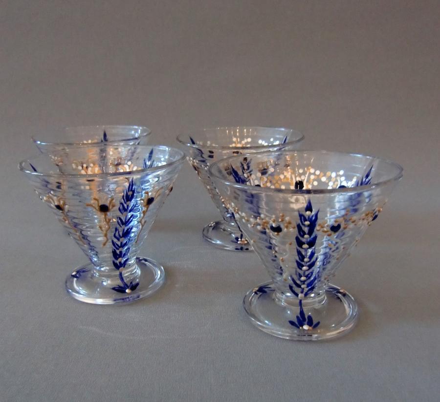 Glazen 'Blauwe Korenaren', Handbeschilderd Glas, 10 cm x 8 cm, 2013