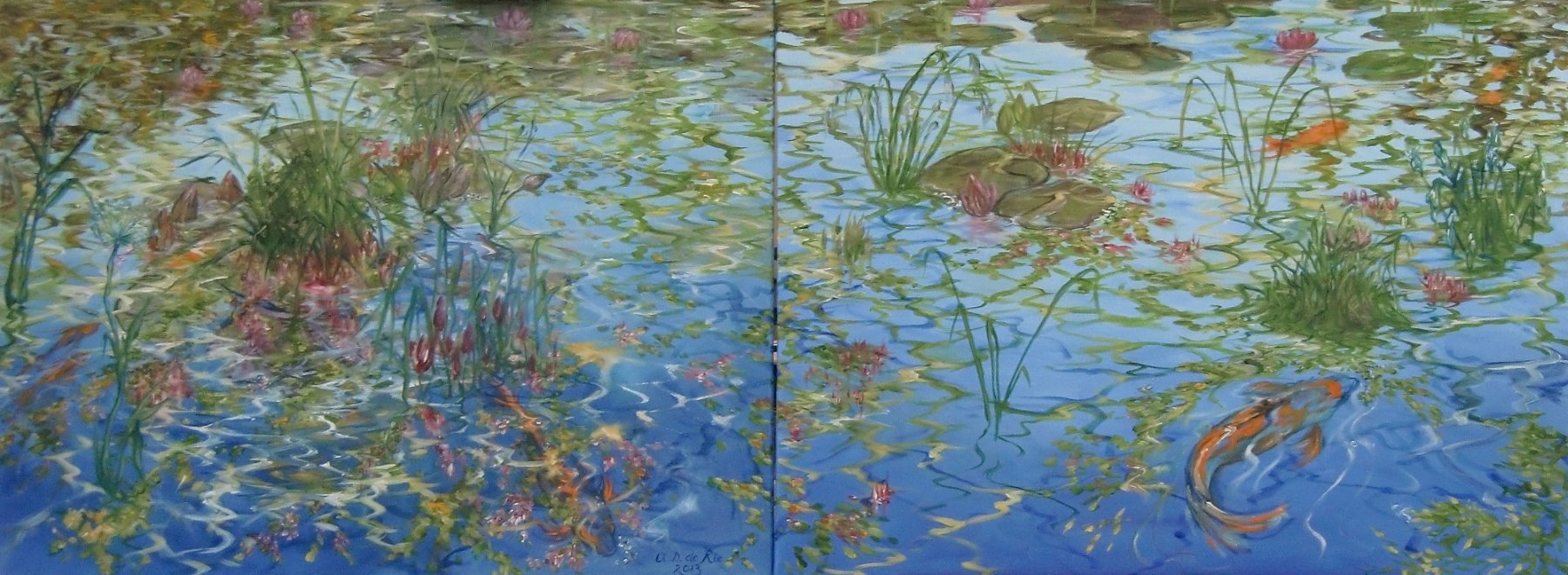 Summer At The Pond, oil on canvas, 60 cm x 160 cm (tezamen), 2013