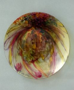 Glazen Schotel 'Fauve', gebrandschilderd glas, doorsnede 30 cm, 2013