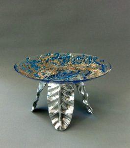 Glazen Schotel 'Ocean Dust', gebrandschilderd glas, doorsnede 30 cm, 2013