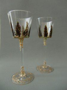 Kelken 'Korenaren' (2 unica), gebrandschilderd glas, 40 x 12 cm, 2013