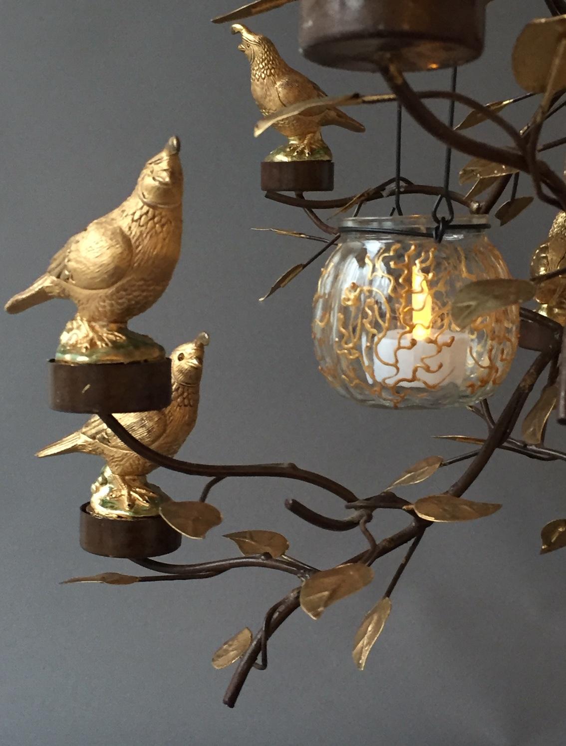 Vogeltjes Boom, Smeedijzer, keramiek en gebrandschilderd glas, 75 x 55 cm, 2019