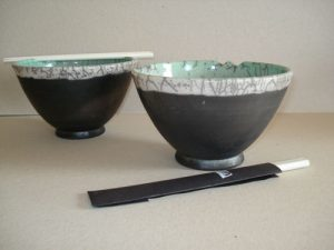 Raku Bowls (2 unica's verkrijgbaar), Keramiek (Rakustook), 17 x 17 x 17 cm, 2008, VERKOCHT